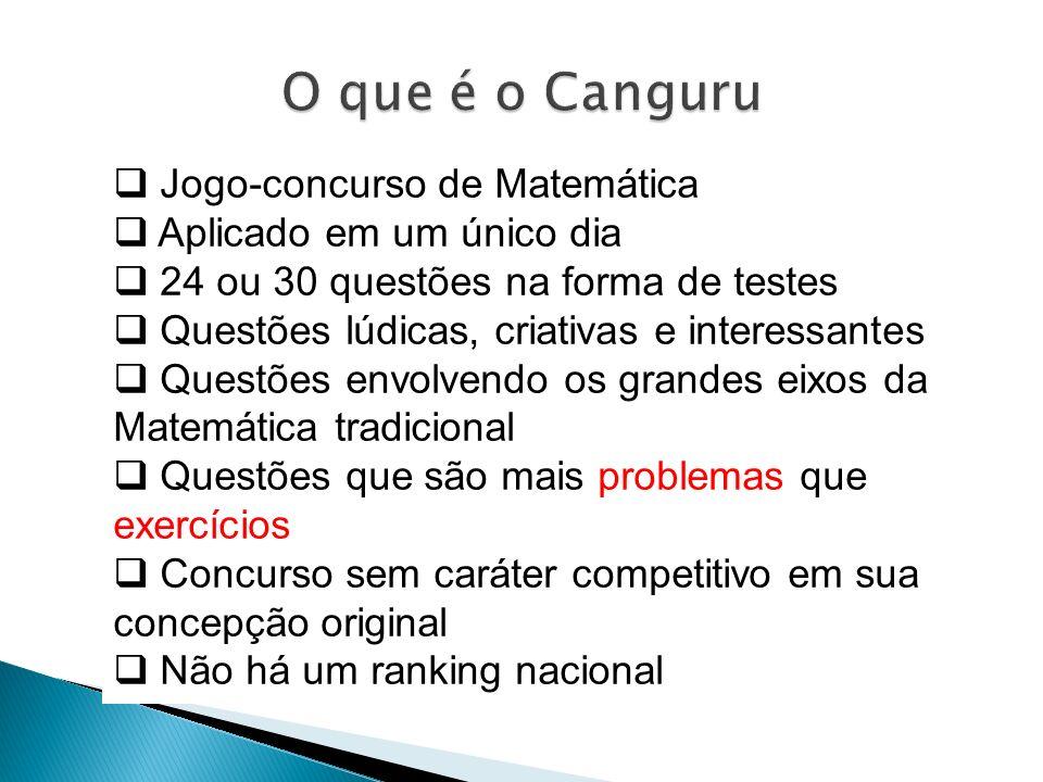 Jogo-concurso de Matemática Aplicado em um único dia 24 ou 30 questões na forma de testes Questões lúdicas, criativas e interessantes Questões envolve