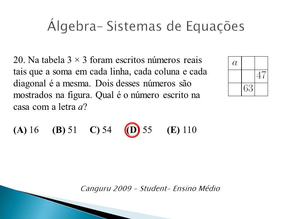 20. Na tabela 3 × 3 foram escritos números reais tais que a soma em cada linha, cada coluna e cada diagonal é a mesma. Dois desses números são mostrad