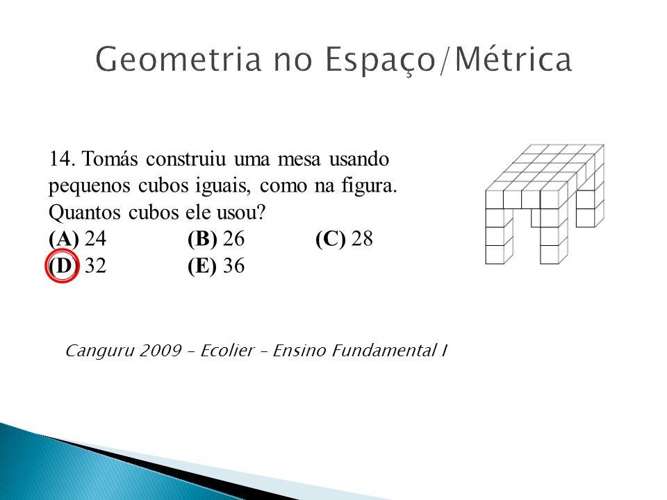 14. Tomás construiu uma mesa usando pequenos cubos iguais, como na figura. Quantos cubos ele usou? (A) 24 (B) 26 (C) 28 (D) 32 (E) 36 Canguru 2009 – E