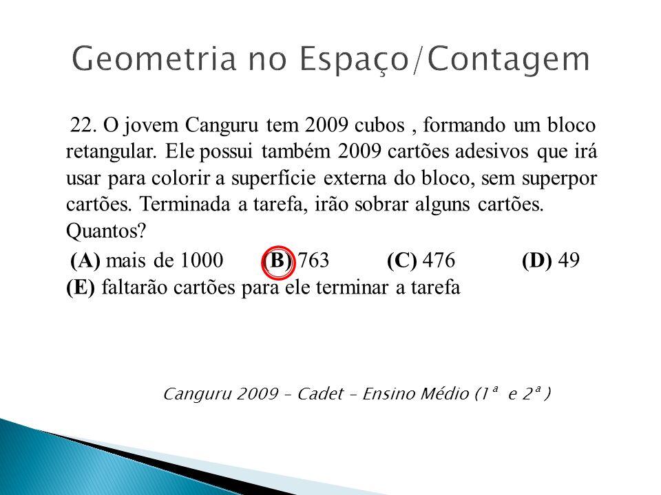 22. O jovem Canguru tem 2009 cubos, formando um bloco retangular. Ele possui também 2009 cartões adesivos que irá usar para colorir a superfície exter