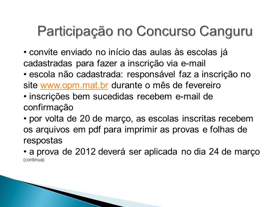 Participação no Concurso Canguru convite enviado no início das aulas às escolas já cadastradas para fazer a inscrição via e-mail escola não cadastrada