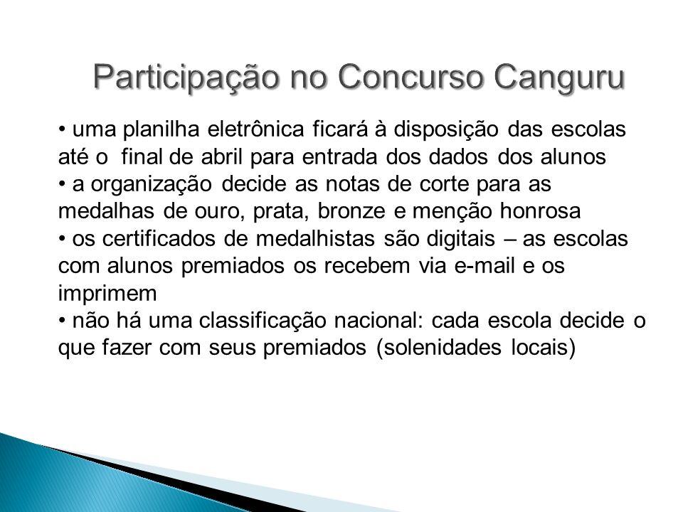 Participação no Concurso Canguru uma planilha eletrônica ficará à disposição das escolas até o final de abril para entrada dos dados dos alunos a orga