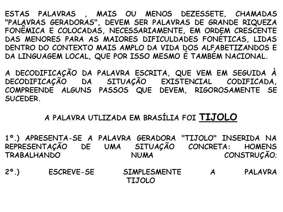 ESTAS PALAVRAS, MAIS OU MENOS DEZESSETE, CHAMADAS PALAVRAS GERADORAS , DEVEM SER PALAVRAS DE GRANDE RIQUEZA FONÊMICA E COLOCADAS, NECESSARIAMENTE, EM ORDEM CRESCENTE DAS MENORES PARA AS MAIORES DIFICULDADES FONÉTICAS, LIDAS DENTRO DO CONTEXTO MAIS AMPLO DA VIDA DOS ALFABETIZANDOS E DA LINGUAGEM LOCAL, QUE POR ISSO MESMO É TAMBÉM NACIONAL.