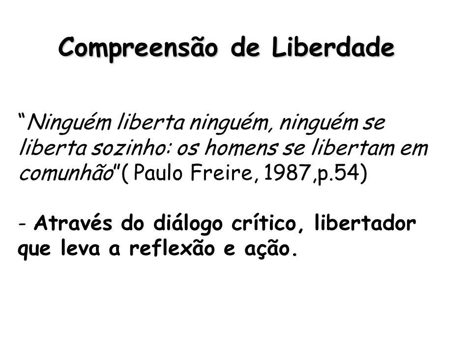 Compreensão de Liberdade Ninguém liberta ninguém, ninguém se liberta sozinho: os homens se libertam em comunhão( Paulo Freire, 1987,p.54) - Através do diálogo crítico, libertador que leva a reflexão e ação.