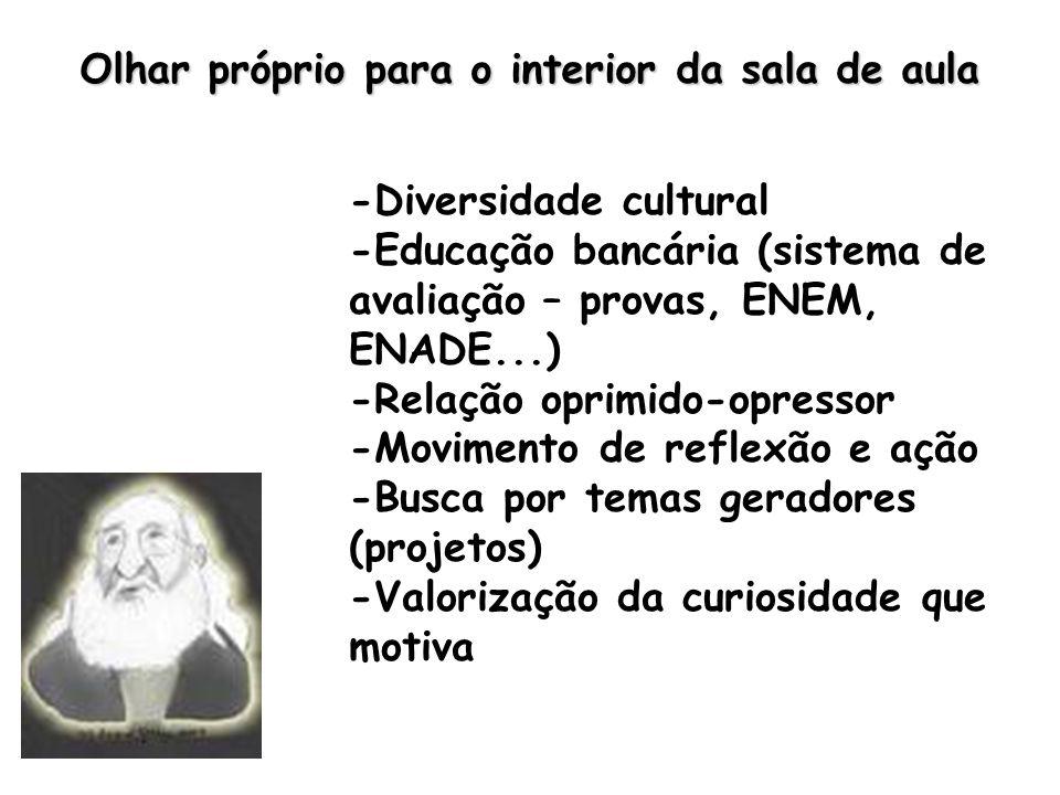 Olhar próprio para o interior da sala de aula -Diversidade cultural -Educação bancária (sistema de avaliação – provas, ENEM, ENADE...) -Relação oprimido-opressor -Movimento de reflexão e ação -Busca por temas geradores (projetos) -Valorização da curiosidade que motiva