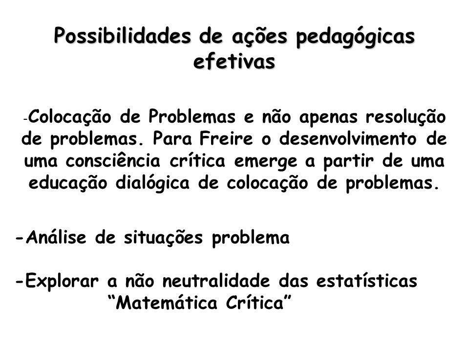Possibilidades de ações pedagógicas efetivas - Colocação de Problemas e não apenas resolução de problemas.