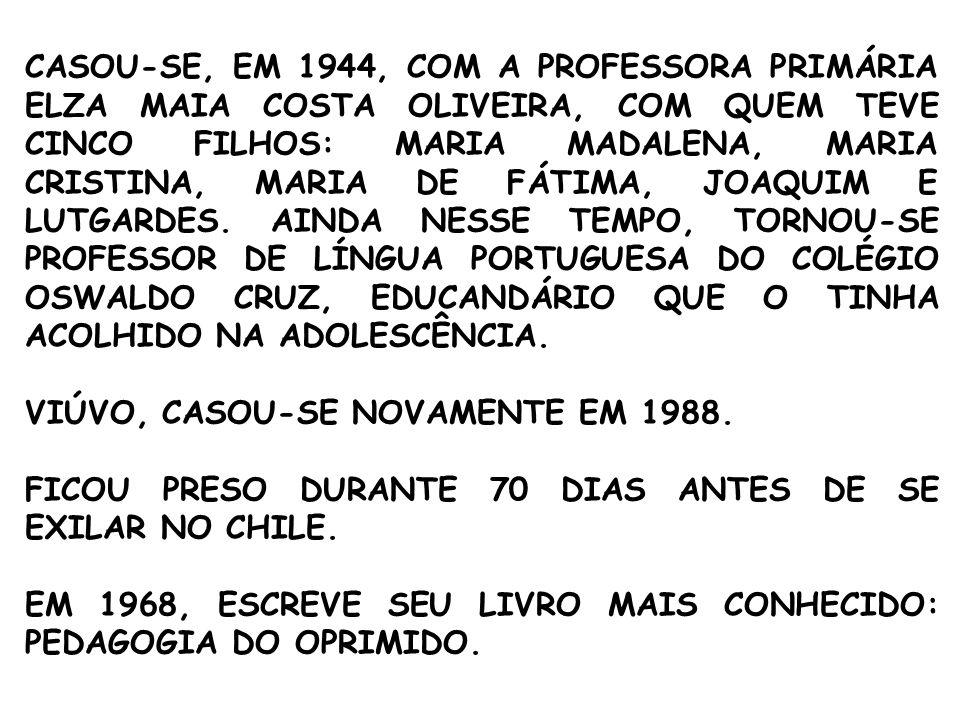 CASOU-SE, EM 1944, COM A PROFESSORA PRIMÁRIA ELZA MAIA COSTA OLIVEIRA, COM QUEM TEVE CINCO FILHOS: MARIA MADALENA, MARIA CRISTINA, MARIA DE FÁTIMA, JOAQUIM E LUTGARDES.