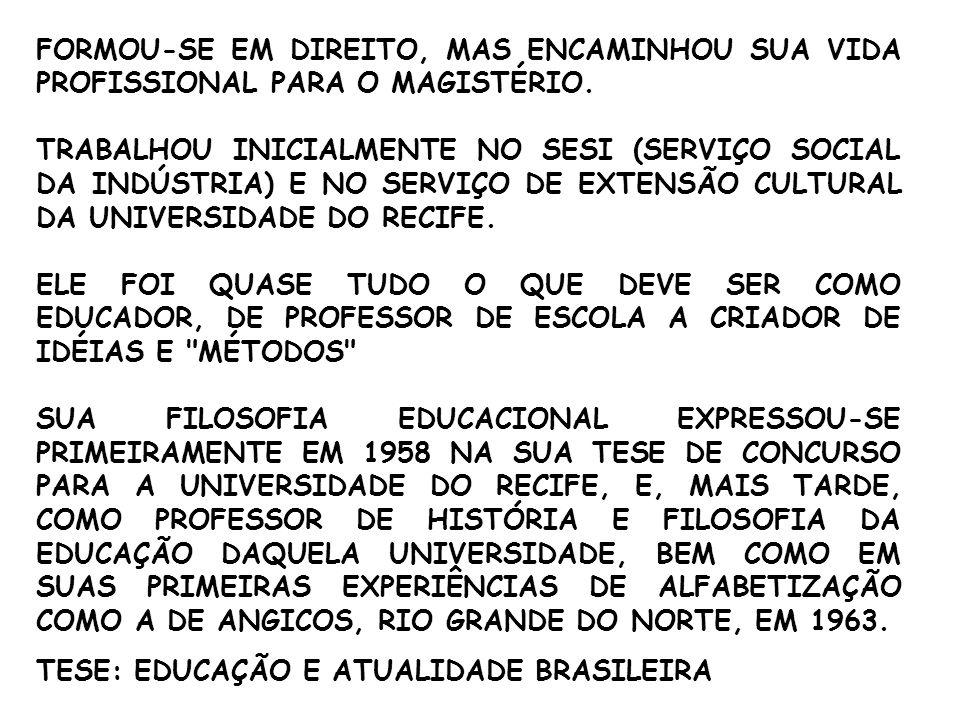 PROJETO DE ALFABETIZAÇÃO EM ANGICOS – RN 1963 PAULO FREIRE E SUA EQUIPE CONSEGUIRAM ALFABETIZAR 300 PESSOAS EM UM MÊS.