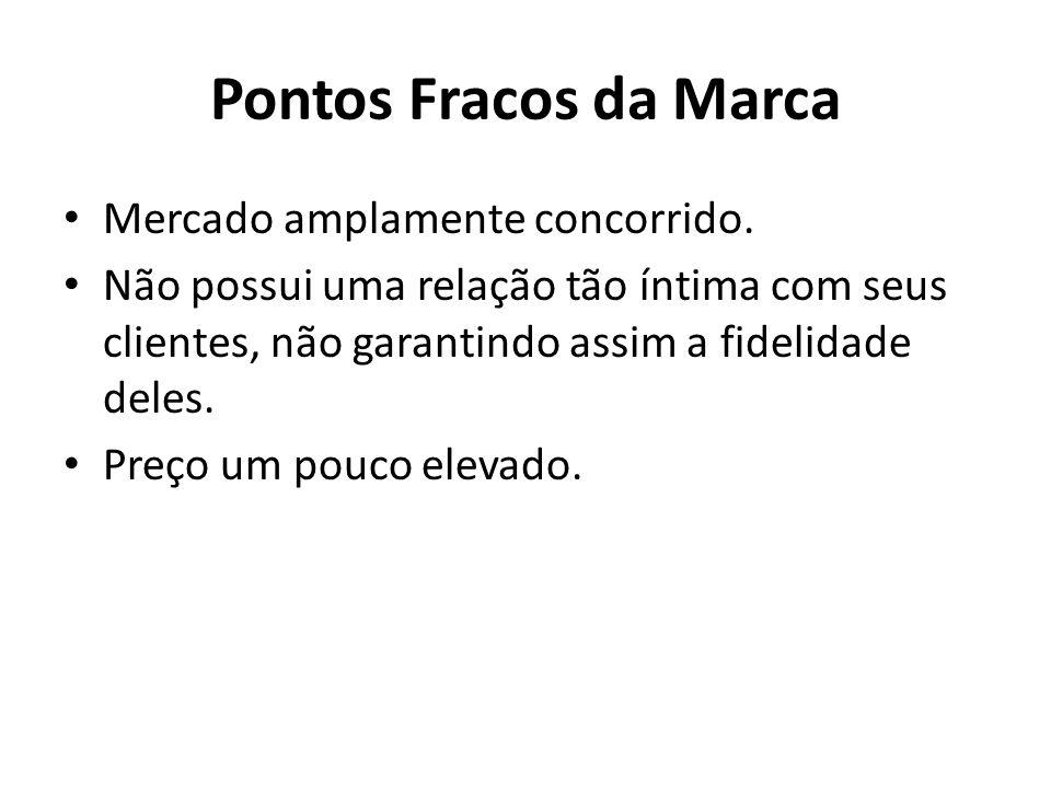 Pontos Fracos da Marca Mercado amplamente concorrido. Não possui uma relação tão íntima com seus clientes, não garantindo assim a fidelidade deles. Pr