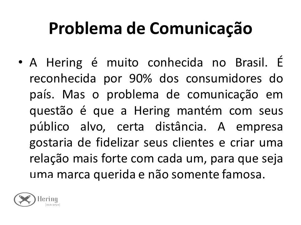 Problema de Comunicação A Hering é muito conhecida no Brasil. É reconhecida por 90% dos consumidores do país. Mas o problema de comunicação em questão