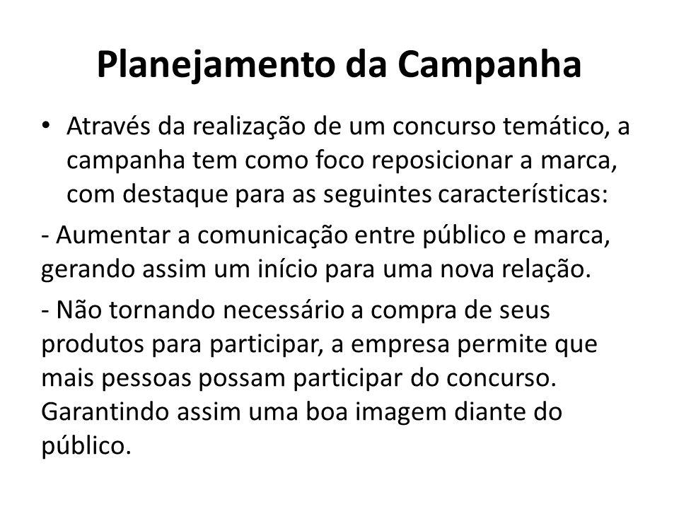 Planejamento da Campanha Através da realização de um concurso temático, a campanha tem como foco reposicionar a marca, com destaque para as seguintes