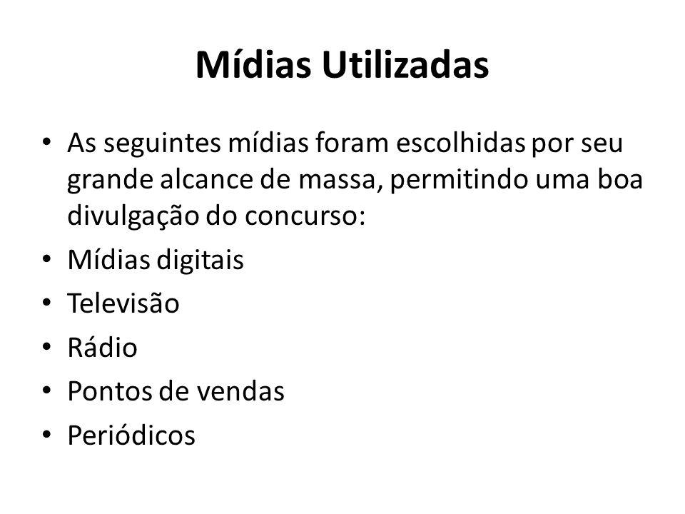 Mídias Utilizadas As seguintes mídias foram escolhidas por seu grande alcance de massa, permitindo uma boa divulgação do concurso: Mídias digitais Tel