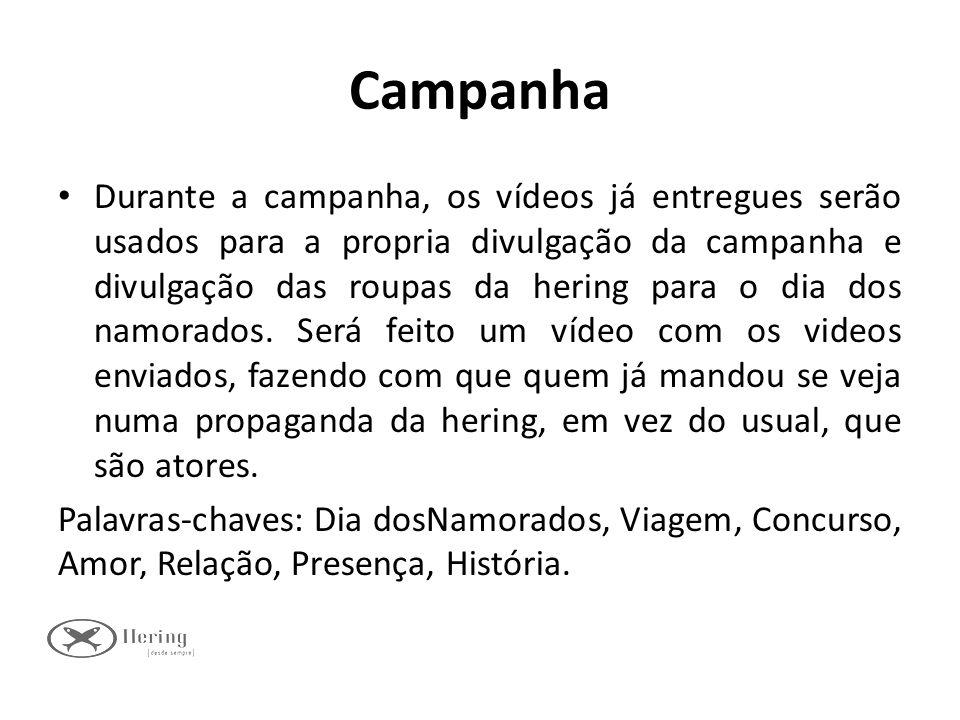 Campanha Durante a campanha, os vídeos já entregues serão usados para a propria divulgação da campanha e divulgação das roupas da hering para o dia do