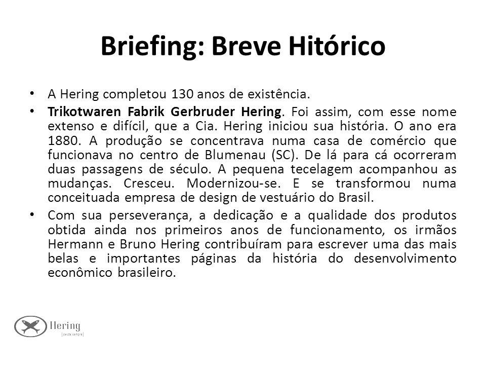 Briefing: Breve Hitórico A Hering completou 130 anos de existência. Trikotwaren Fabrik Gerbruder Hering. Foi assim, com esse nome extenso e difícil, q