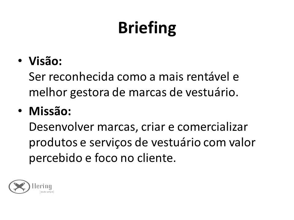 Briefing Visão: Ser reconhecida como a mais rentável e melhor gestora de marcas de vestuário. Missão: Desenvolver marcas, criar e comercializar produt
