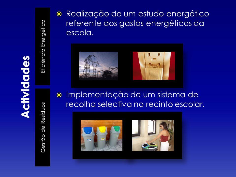Eficiência Energética Gestão de Resíduos Realização de um estudo energético referente aos gastos energéticos da escola.