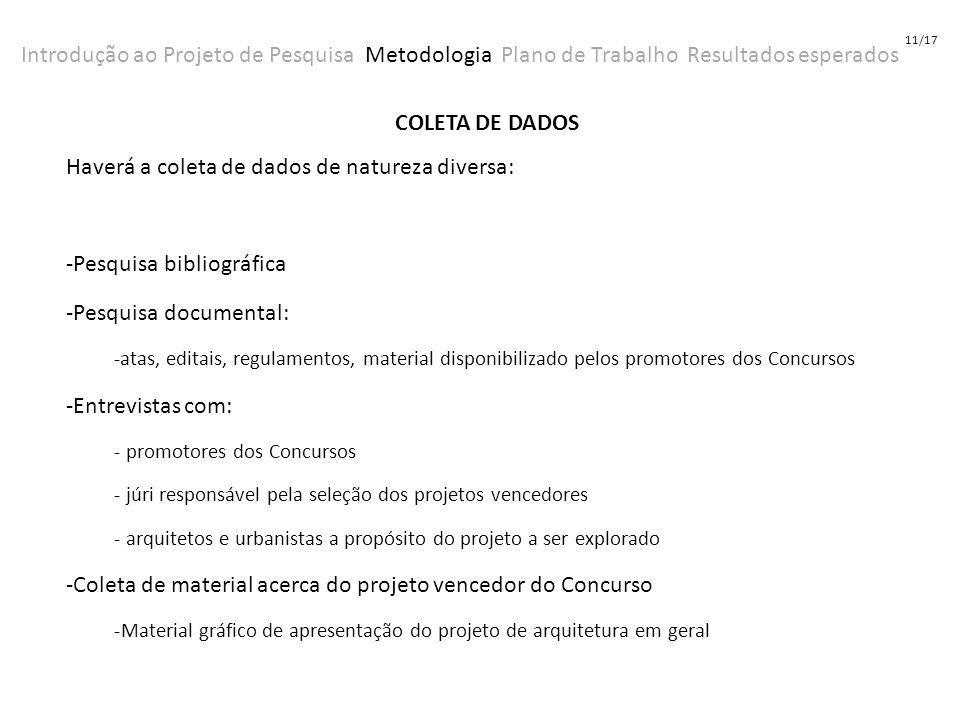 Introdução ao Projeto de Pesquisa Metodologia Plano de Trabalho Resultados esperados 11/17 COLETA DE DADOS Haverá a coleta de dados de natureza divers