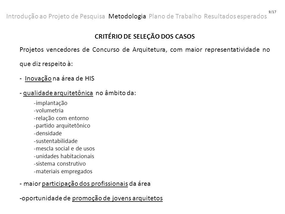 Introdução ao Projeto de Pesquisa Metodologia Plano de Trabalho Resultados esperados 9/17 CRITÉRIO DE SELEÇÃO DOS CASOS Projetos vencedores de Concurs