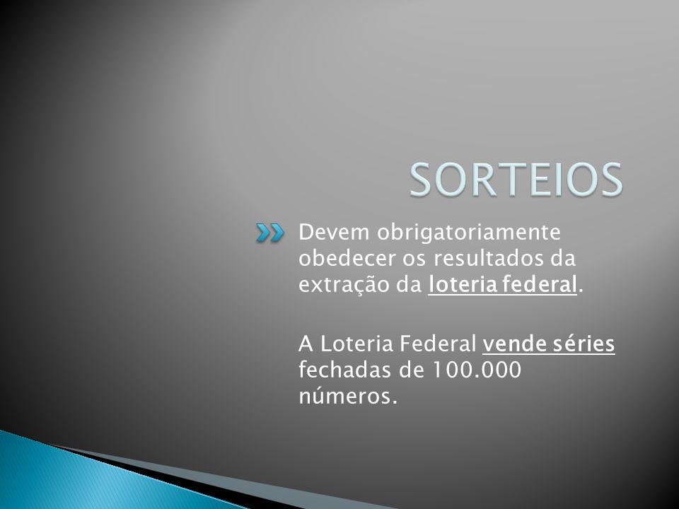 Devem obrigatoriamente obedecer os resultados da extração da loteria federal. A Loteria Federal vende séries fechadas de 100.000 números.