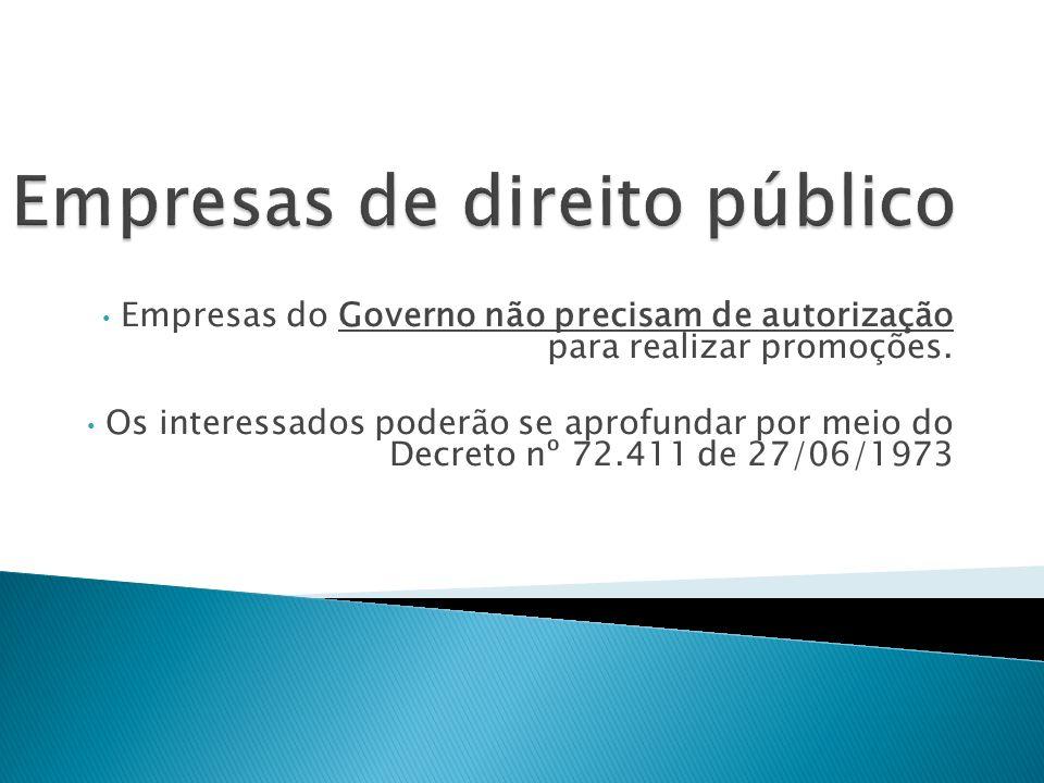 Empresas do Governo não precisam de autorização para realizar promoções. Os interessados poderão se aprofundar por meio do Decreto nº 72.411 de 27/06/