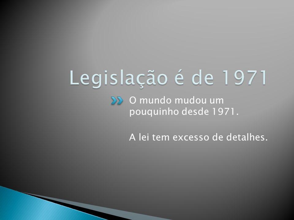 O mundo mudou um pouquinho desde 1971. A lei tem excesso de detalhes.
