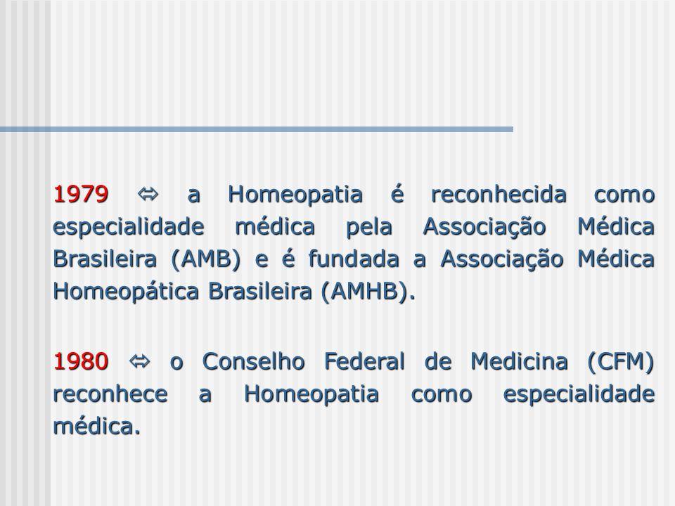1979 a Homeopatia é reconhecida como especialidade médica pela Associação Médica Brasileira (AMB) e é fundada a Associação Médica Homeopática Brasilei