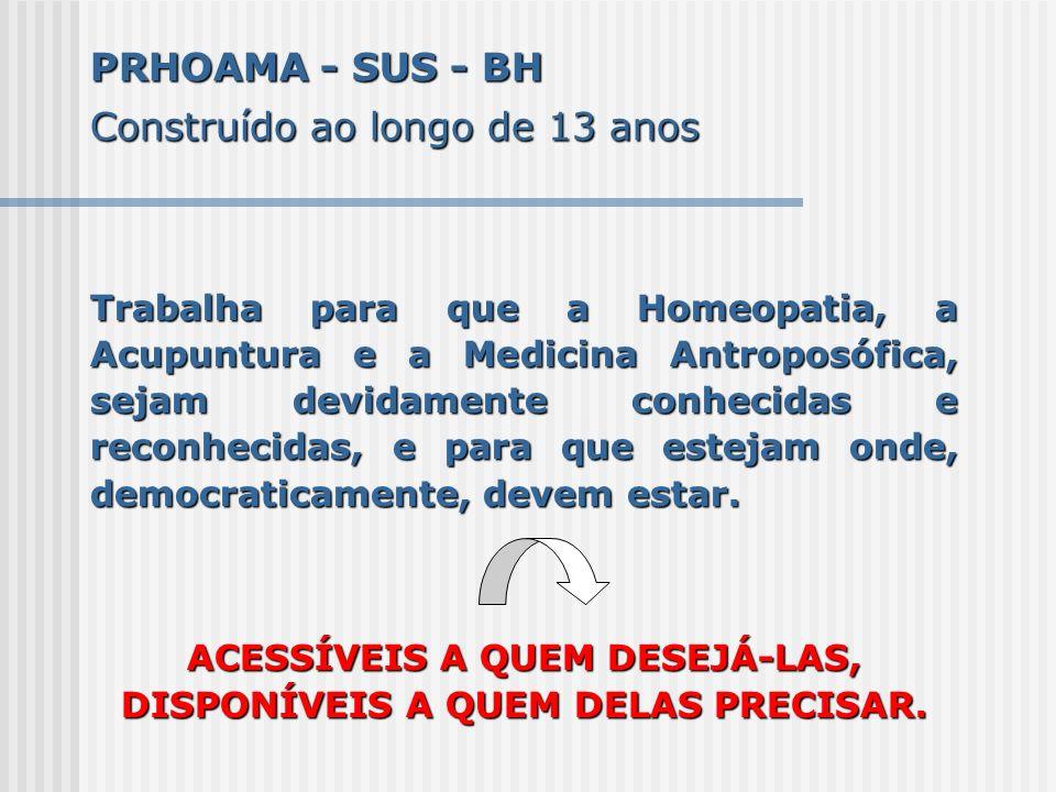 PRHOAMA - SUS - BH Construído ao longo de 13 anos Trabalha para que a Homeopatia, a Acupuntura e a Medicina Antroposófica, sejam devidamente conhecida