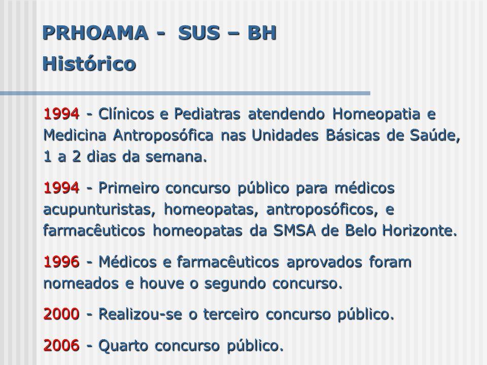 PRHOAMA - SUS – BH Histórico 1994 - Clínicos e Pediatras atendendo Homeopatia e Medicina Antroposófica nas Unidades Básicas de Saúde, 1 a 2 dias da se