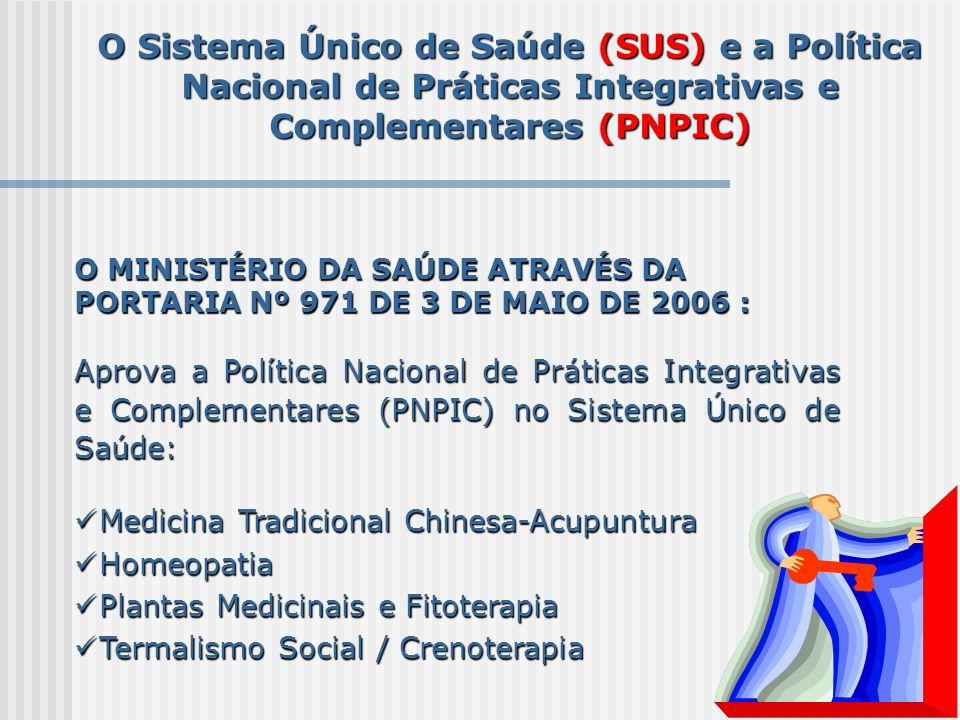 O Sistema Único de Saúde (SUS) e a Política Nacional de Práticas Integrativas e Complementares (PNPIC) O MINISTÉRIO DA SAÚDE ATRAVÉS DA PORTARIA Nº 97