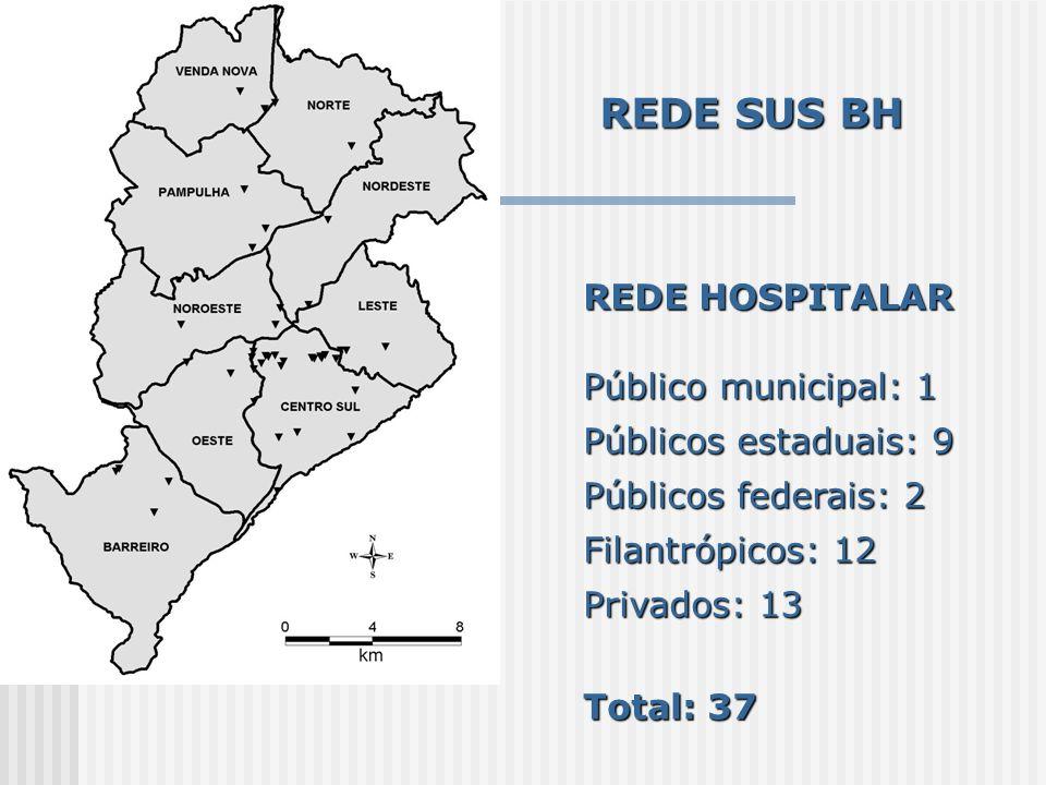 REDE SUS BH REDE HOSPITALAR Público municipal: 1 Públicos estaduais: 9 Públicos federais: 2 Filantrópicos: 12 Privados: 13 Total: 37