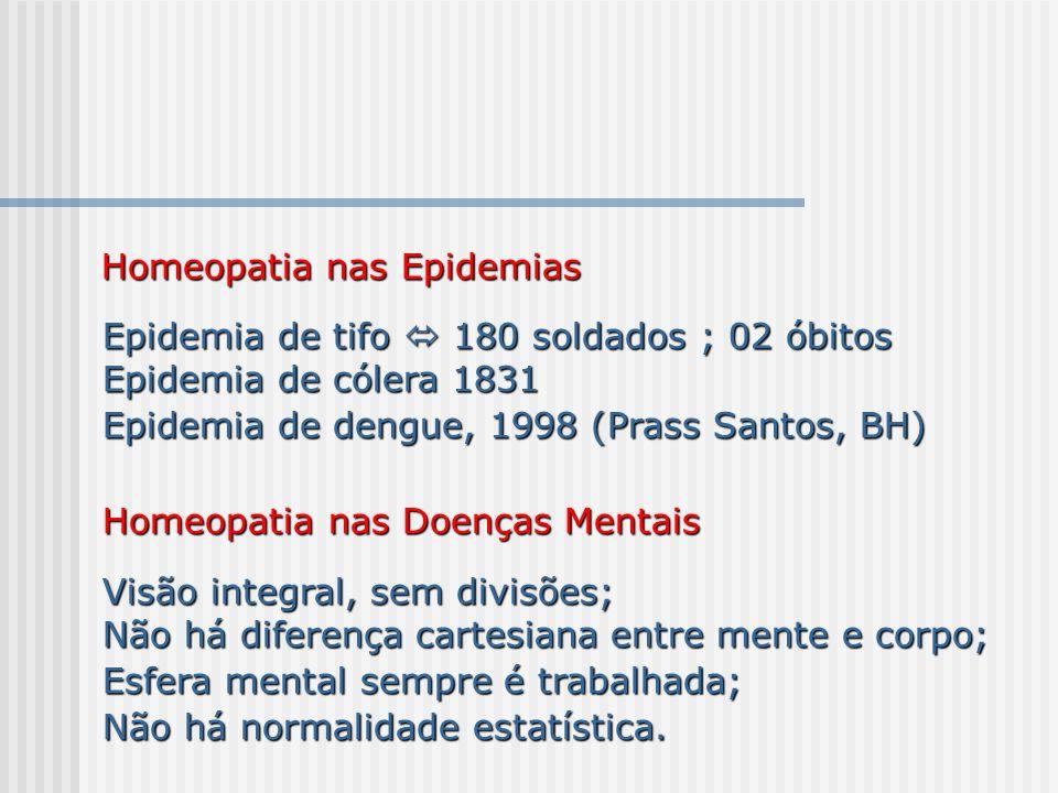 Homeopatia nas Epidemias Homeopatia nas Epidemias Epidemia de tifo 180 soldados ; 02 óbitos Epidemia de tifo 180 soldados ; 02 óbitos Epidemia de cóle