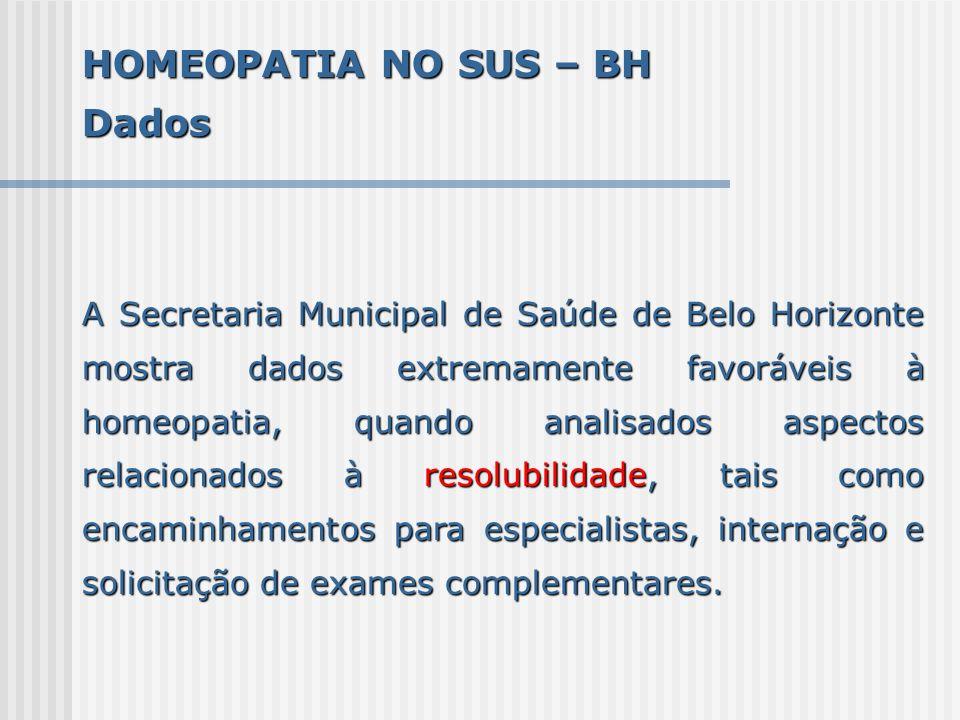 HOMEOPATIA NO SUS – BH Dados A Secretaria Municipal de Saúde de Belo Horizonte mostra dados extremamente favoráveis à homeopatia, quando analisados as