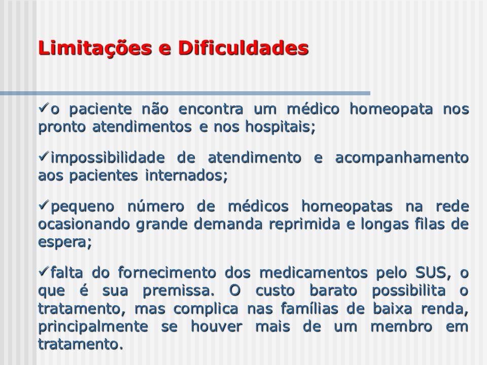 Limitações e Dificuldades o paciente não encontra um médico homeopata nos pronto atendimentos e nos hospitais; o paciente não encontra um médico homeo