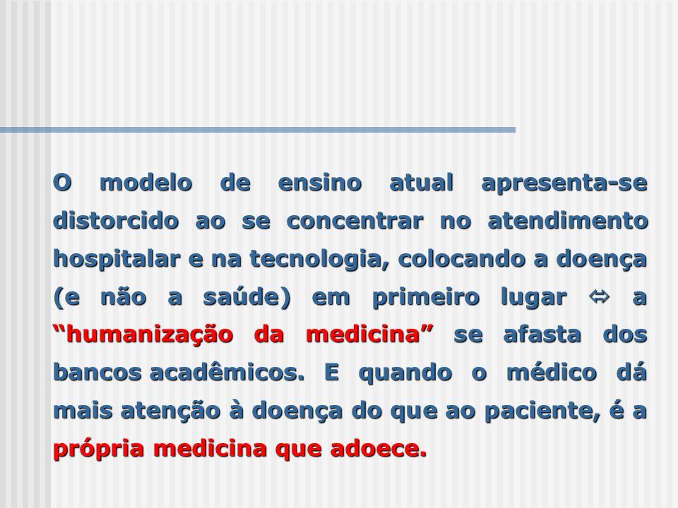 O modelo de ensino atual apresenta-se distorcido ao se concentrar no atendimento hospitalar e na tecnologia, colocando a doença (e não a saúde) em pri