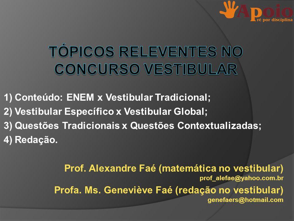1)Conteúdo: ENEM x Vestibular Tradicional; 2)Vestibular Específico x Vestibular Global; 3)Questões Tradicionais x Questões Contextualizadas; 4)Redação