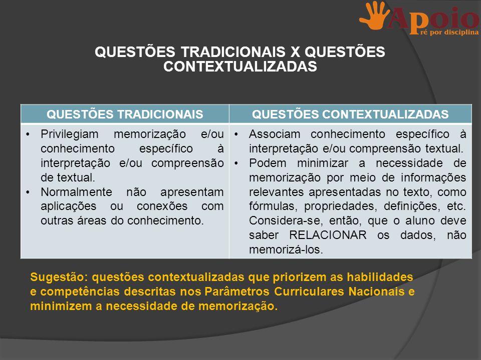 QUESTÕES TRADICIONAIS X QUESTÕES CONTEXTUALIZADAS QUESTÕES TRADICIONAISQUESTÕES CONTEXTUALIZADAS Privilegiam memorização e/ou conhecimento específico