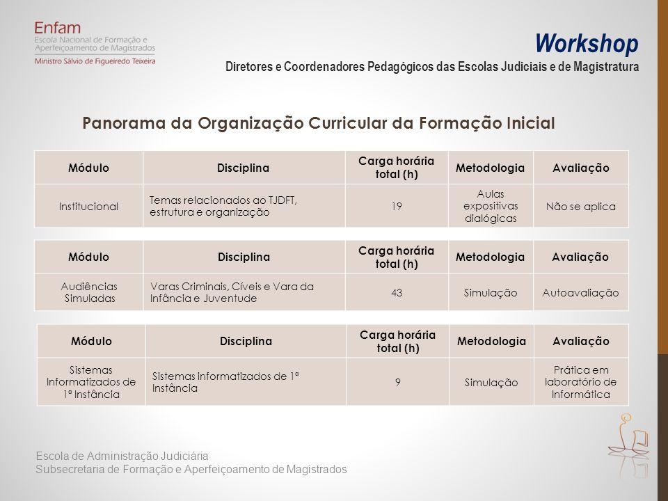 Workshop Diretores e Coordenadores Pedagógicos das Escolas Judiciais e de Magistratura Panorama da Organização Curricular da Formação Inicial MóduloDi