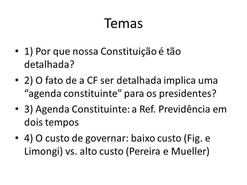 (I) A Constituição detalhada Constituições contêm, normalmente, elementos bastante genéricos sobre o sistema político e a sociedade que se deseja (ver CF EUA) A Constituição brasileira de 1988, no entanto, é atípica, pois ela contém, além desses elementos (polity e politics), políticas substantivas (policies) Por que a CF é desse jeito.