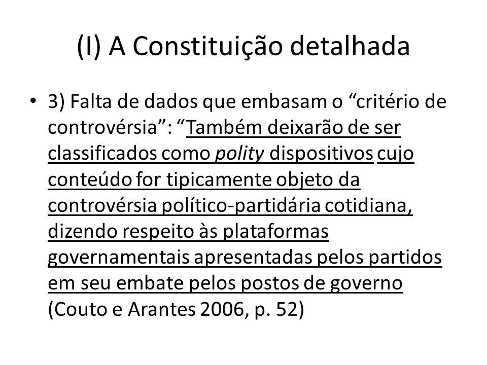 (I) A Constituição detalhada 3) Falta de dados que embasam o critério de controvérsia: Também deixarão de ser classificados como polity dispositivos c