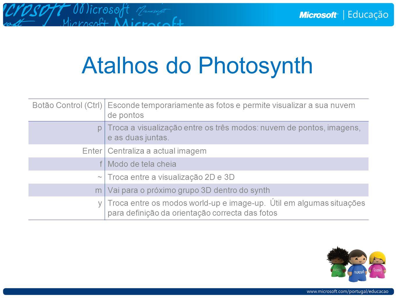 Atalhos do Photosynth Botão Control (Ctrl)Esconde temporariamente as fotos e permite visualizar a sua nuvem de pontos pTroca a visualização entre os três modos: nuvem de pontos, imagens, e as duas juntas.