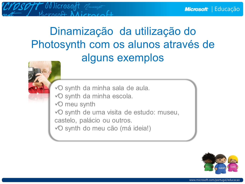Dinamização da utilização do Photosynth com os alunos através de alguns exemplos O synth da minha sala de aula.