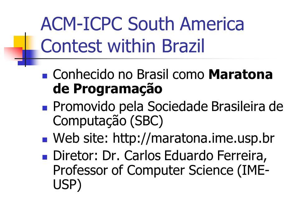 ACM-ICPC South America Contest within Brazil Conhecido no Brasil como Maratona de Programação Promovido pela Sociedade Brasileira de Computação (SBC) Web site: http://maratona.ime.usp.br Diretor: Dr.