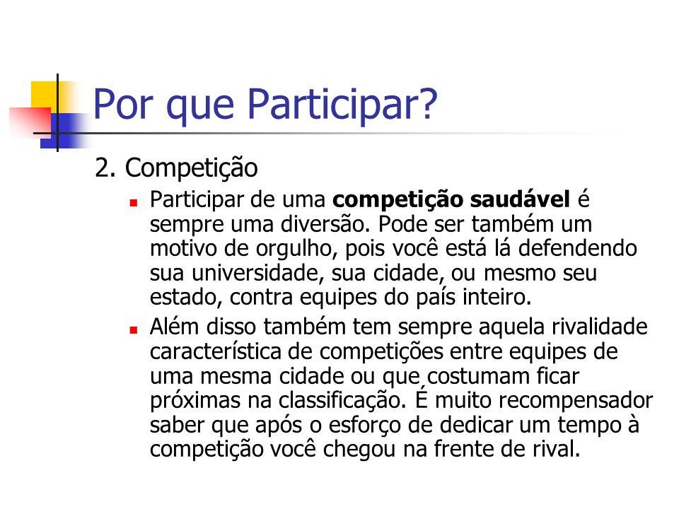 Por que Participar.2. Competição Participar de uma competição saudável é sempre uma diversão.