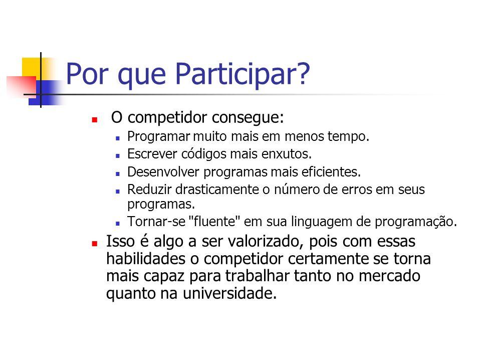 Por que Participar.O competidor consegue: Programar muito mais em menos tempo.