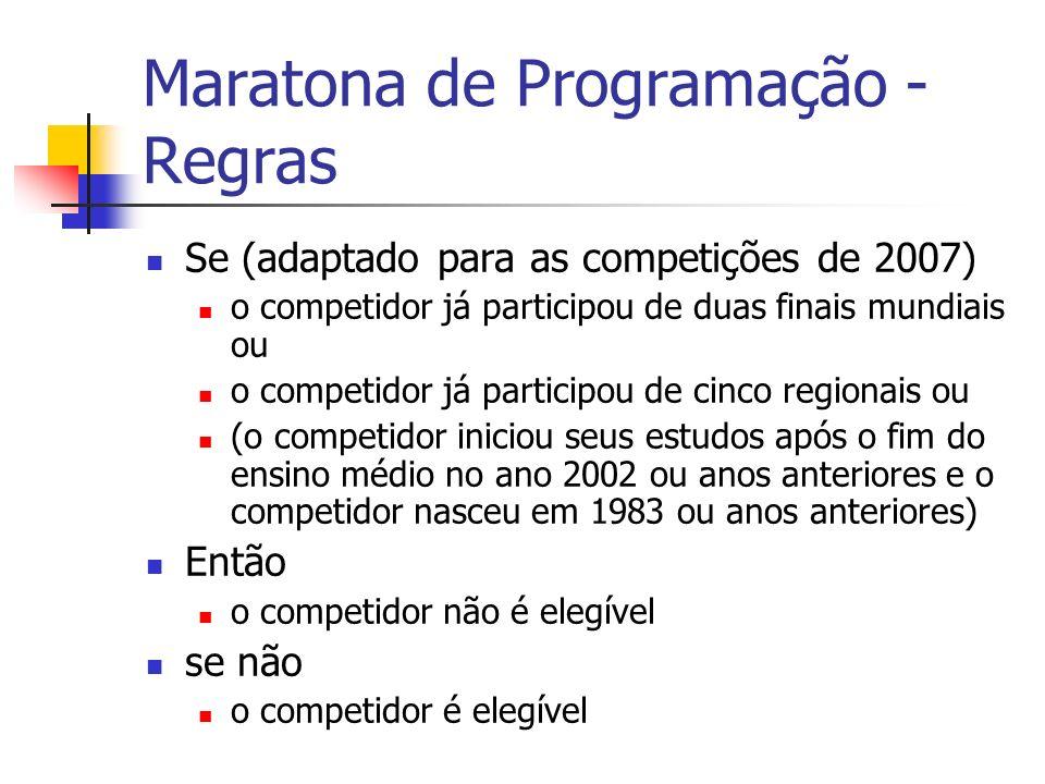 Maratona de Programação - Regras Se (adaptado para as competições de 2007) o competidor já participou de duas finais mundiais ou o competidor já participou de cinco regionais ou (o competidor iniciou seus estudos após o fim do ensino médio no ano 2002 ou anos anteriores e o competidor nasceu em 1983 ou anos anteriores) Então o competidor não é elegível se não o competidor é elegível