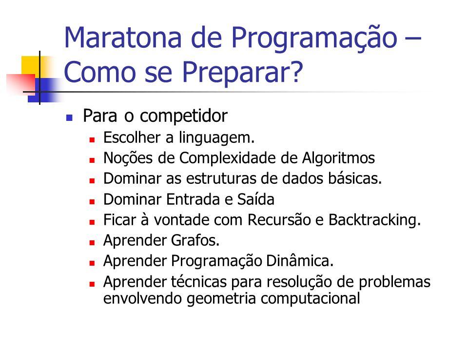 Maratona de Programação – Como se Preparar.Para o competidor Escolher a linguagem.