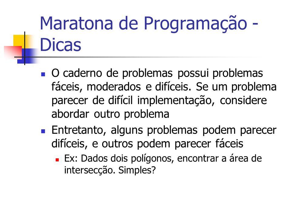 Maratona de Programação - Dicas O caderno de problemas possui problemas fáceis, moderados e difíceis.