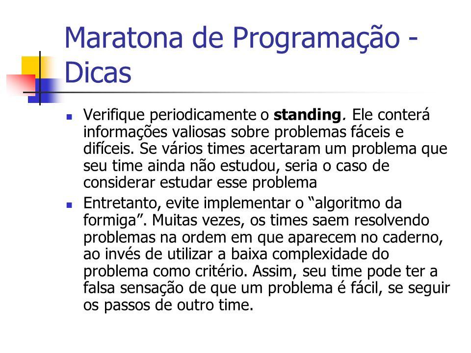 Maratona de Programação - Dicas Verifique periodicamente o standing.