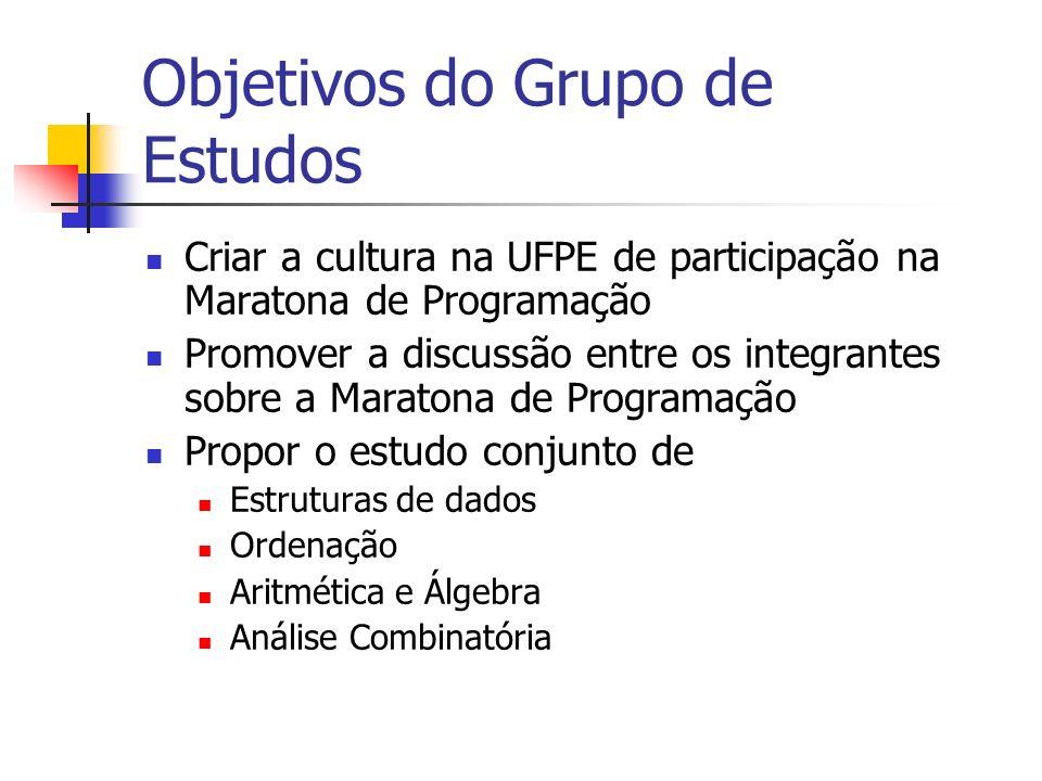 Criar a cultura na UFPE de participação na Maratona de Programação Promover a discussão entre os integrantes sobre a Maratona de Programação Propor o estudo conjunto de Estruturas de dados Ordenação Aritmética e Álgebra Análise Combinatória