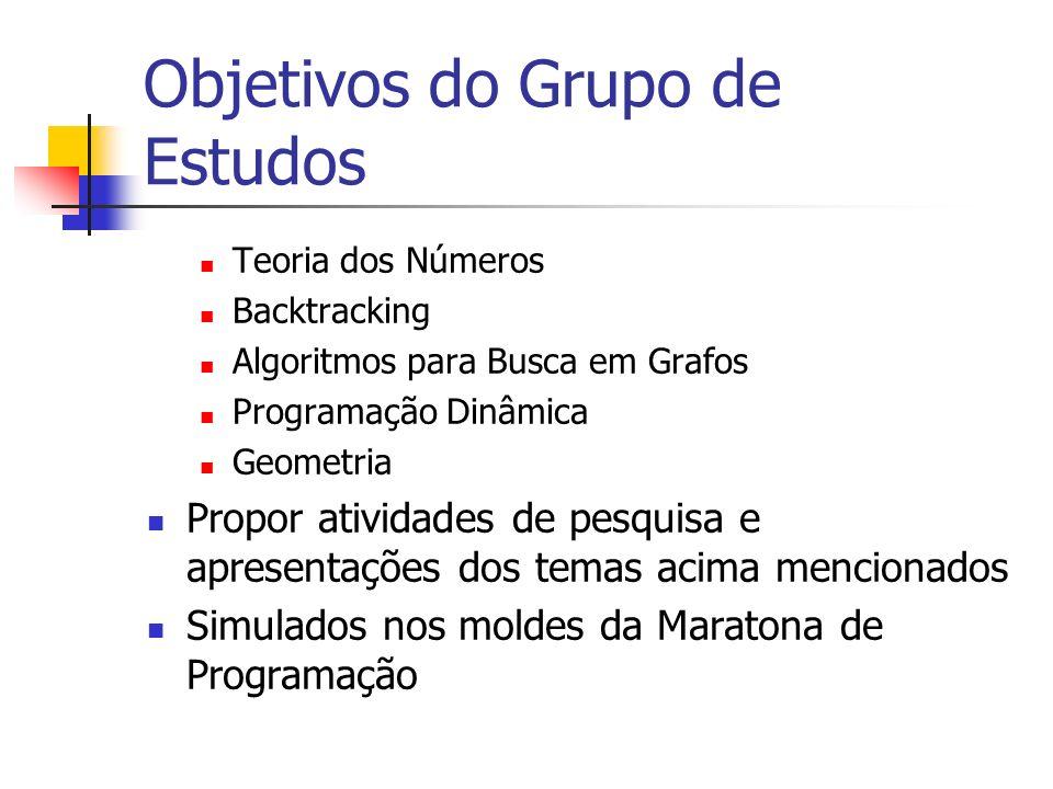 Objetivos do Grupo de Estudos Teoria dos Números Backtracking Algoritmos para Busca em Grafos Programação Dinâmica Geometria Propor atividades de pesquisa e apresentações dos temas acima mencionados Simulados nos moldes da Maratona de Programação